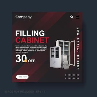Filling cabinet discount, social media banner template