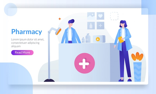 Filling prescription in pharmacy landing page