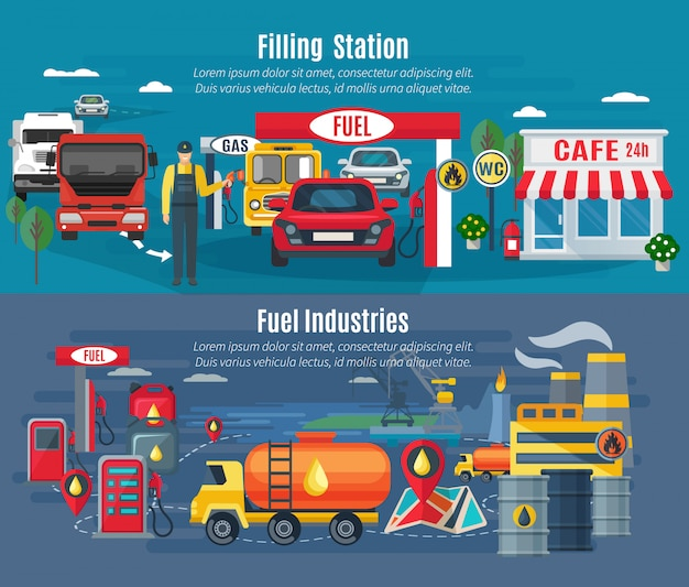 Filling station horizontal banners set with cars trucks and cafe