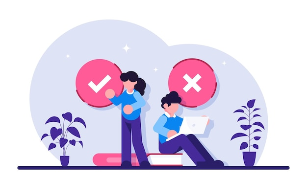 Filling test. customer experiences and satisfaction. woman and man putting check mark. filling test in customer survey form.