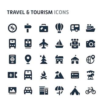 旅行&観光のアイコンを設定します。 fillioブラックアイコンシリーズ。