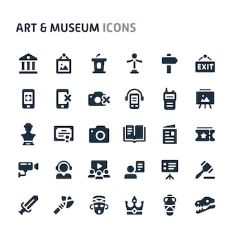 アート&ミュージアムアイコンセット。 fillioブラックアイコンシリーズ。
