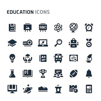 教育のアイコンを設定します。 fillioブラックアイコンシリーズ。