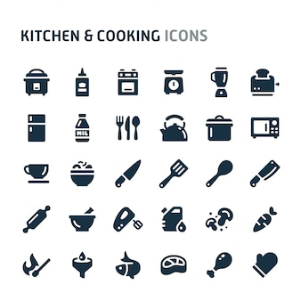 キッチン&料理のアイコンを設定します。 fillioブラックアイコンシリーズ。