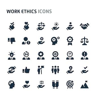 仕事倫理のアイコンを設定します。 fillioブラックアイコンシリーズ。