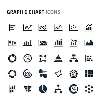 グラフ&チャートアイコンセット。 fillioブラックアイコンシリーズ。