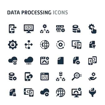 データ処理アイコンセット。 fillioブラックアイコンシリーズ。