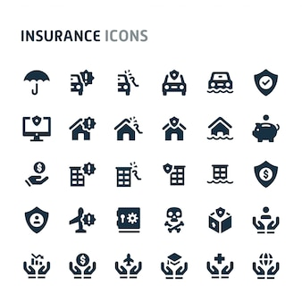 保険のアイコンを設定します。 fillioブラックアイコンシリーズ。