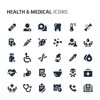 健康と医療のアイコンを設定します。 fillioブラックアイコンシリーズ。