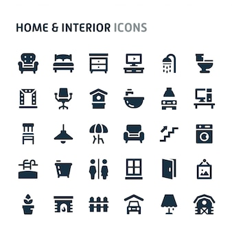 ホーム&インテリアアイコンセット。 fillioブラックアイコンシリーズ。