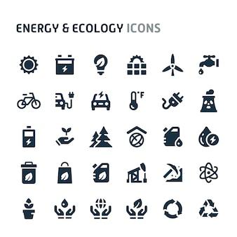 エネルギー&エコロジーアイコンセット。 fillioブラックアイコンシリーズ。
