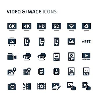 ビデオ&画像アイコンセット。 fillioブラックアイコンシリーズ。