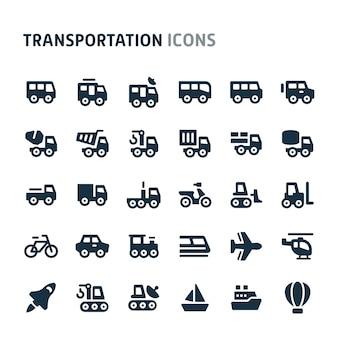 交通機関のアイコンを設定します。 fillioブラックアイコンシリーズ。