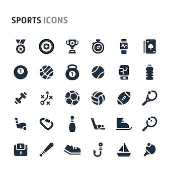 スポーツアイコンセット。 fillioブラックアイコンシリーズ。