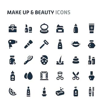 メイクアップ&美容アイコンセット。 fillioブラックアイコンシリーズ。
