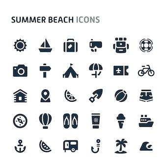 夏のビーチのアイコンを設定します。 fillioブラックアイコンシリーズ。