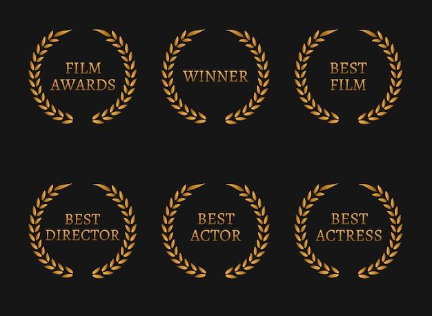 영화 아카데미 상 수상자 및 검은 색 바탕에 최고의 후보 금 화환.