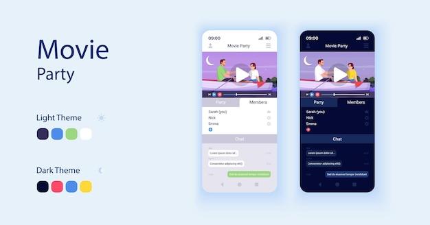 영화 앱 만화 스마트폰 인터페이스 벡터 템플릿 집합입니다. 모바일 앱 화면 페이지 데이 및 다크 모드 디자인. 함께 영화보기 ui 적용. 평면 문자가 있는 전화 디스플레이