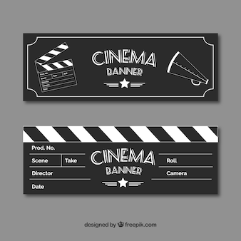 Film banners with sketches of elements in vintage style
