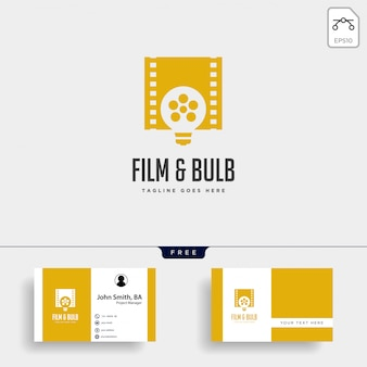 Film bulb idea simple logo template vector illustration icon element isolated