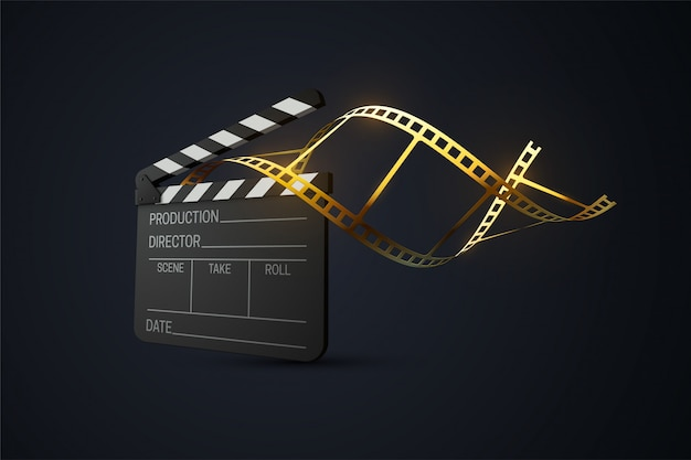 Film clapperboard with curled golden film strip. cinema production or media industry concept.   3d illustration. realistic