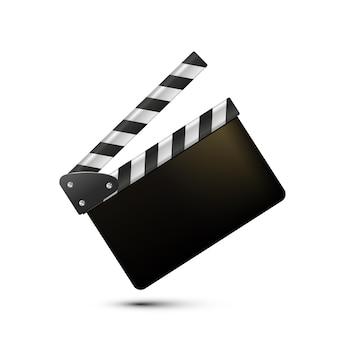Фильм трещотки доски на белом фоне пустой фильм трещотка кино вектор фильм трещотка бо ...