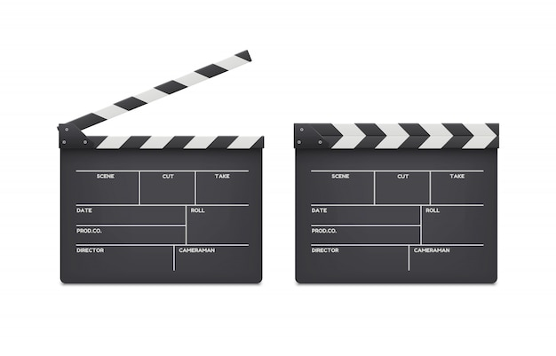 Film clappers boards isolated