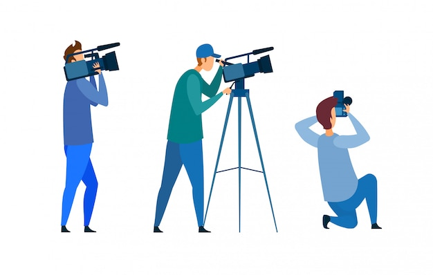 Film crew, press conference vector illustration