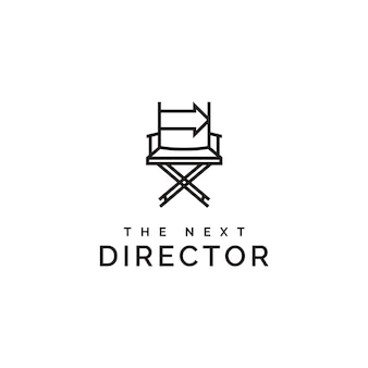Film director chair and arrow right logo