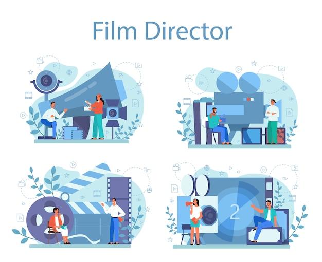 영화 감독 개념을 설정합니다. 창의적인 사람과 직업에 대한 아이디어. 촬영 과정을 주도하는 영화 감독. 클래퍼 및 카메라, 영화 제작 장비.