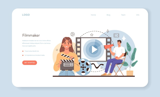 Film director web banner or landing page movie director leading