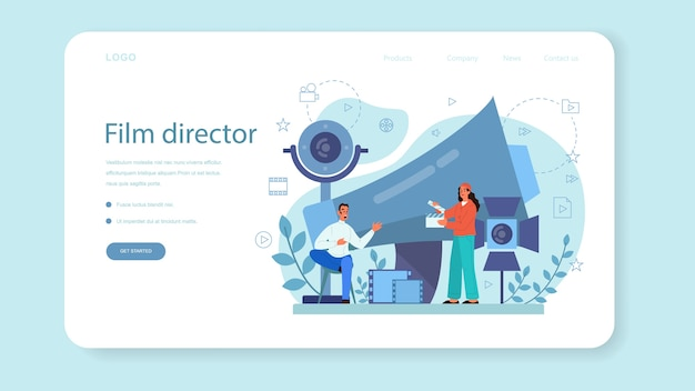 Film director web landing page. idea of creative profession. movie director leading a filming process. clapper and camera, equipment for film making. isolated vector illustration
