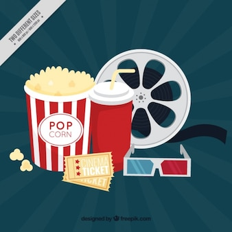 Film elements background with popcorn