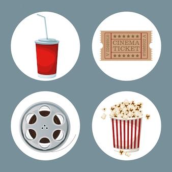 Film elements in frames drinks ticket movie film reel and popcorn