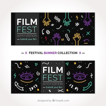 Film festival banners with decorative drawings Free Vector