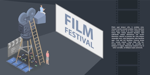 Film festival concept banner, isometric style