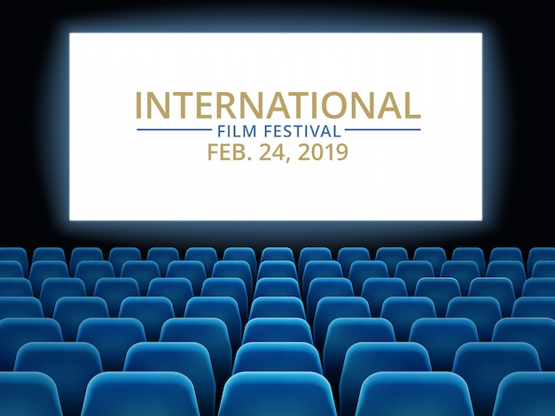 Film festival. movie theater hall with white screen. cinema international festival