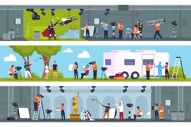 Кинопроизводство. киностудия со сценой съемок фильма на зеленом экране, в павильоне и на натуре. набор для записи фантастического фильма или мультфильма движения векторной команды