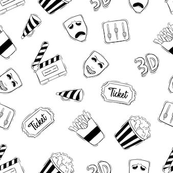 Film or movie icons in seamless pattern with doodle style