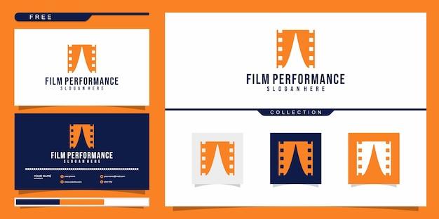 映画のパフォーマンスのロゴのデザインコンセプト。ロゴデザインと名刺
