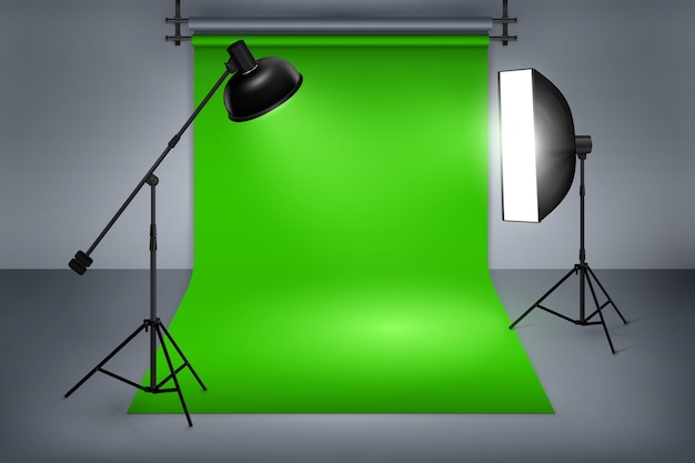 Film or photo studio green screen. interior with equipment, photography and flash spotlight.