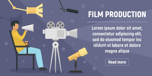 Film production banner, flat style