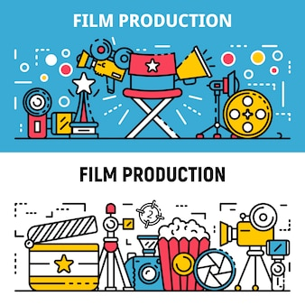 Film production banner set, outline style
