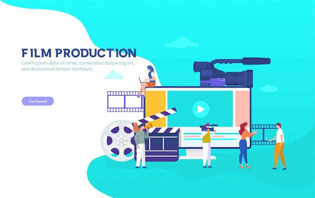 Film production  illustration concept, people in the studio making a film, filmmaking online course can use for, landing page, template, ui, web, mobile app, poster, banner, flyer, background