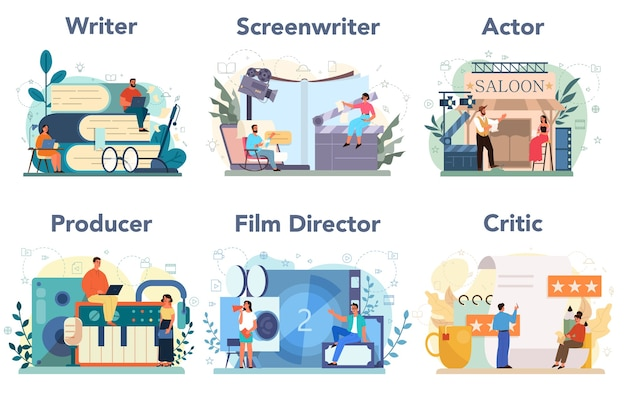 Film production profession set. idea of creative people and profession. movie director, actor, screen writer, producer, critic. clapper and camera, equipment for film making. Premium Vector