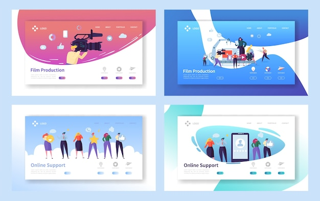 Film production set concept landing page. people character with camera shooting editing film. online chat support technology at smartphone website or web page flat cartoon vector illustration
