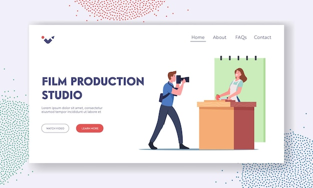Film production studio landing page template. professional videographer male character recording female tv anchorman in apron on video camera. woman cooking food. cartoon people vector illustration