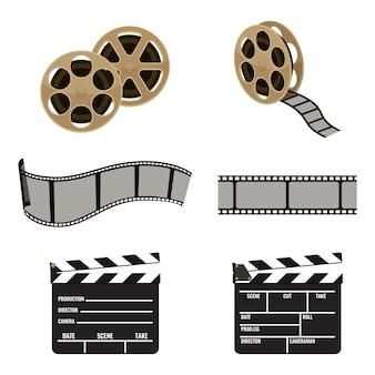 映画製作の映像アイコンセットのフィルムリールとカチンコのシンボル。で隔離された映画を生成するためのプラスチックの柔軟なストリップ