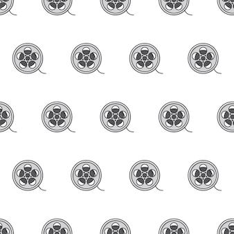 흰색 배경에 영화 릴 시네마 영화 극장 원활한 패턴입니다. 영화 영화 테마 벡터 일러스트 레이 션