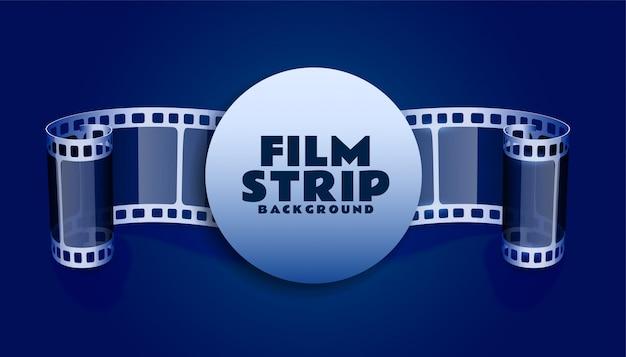 青い色の背景のフィルムリールストリップ